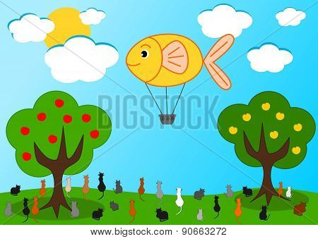 the fish hot air balloon and the hungry cats