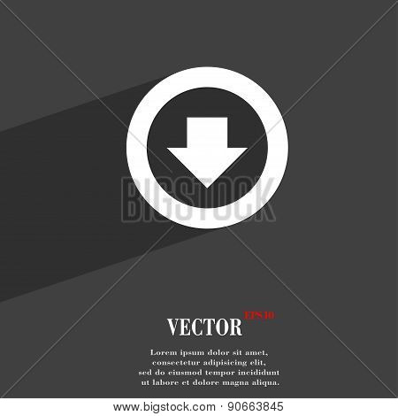 Arrow Down, Download, Load, Backup Icon Symbol Flat Modern Web Design With Long Shadow And Space For