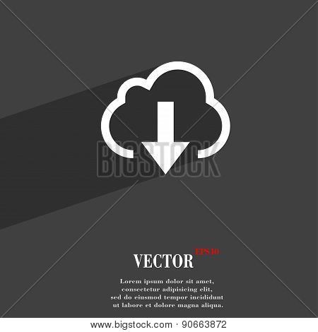 Download From Cloud Icon Symbol Flat Modern Web Design With Long Shadow And Space For Your Text. Vec
