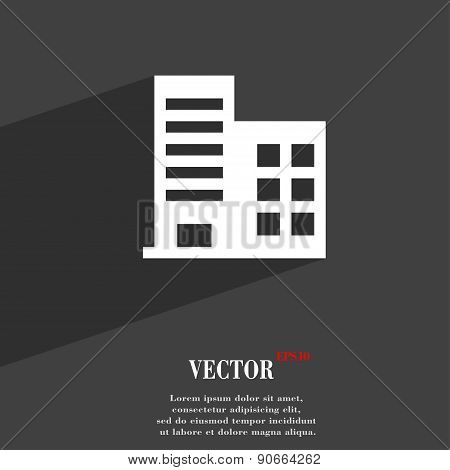 High-rise Commercial Buildings And Residential Apartments Icon Symbol Flat Modern Web Design With Lo