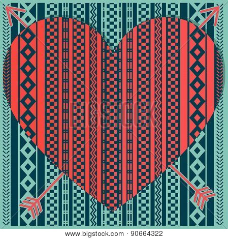 Hipster Heart With Patterns