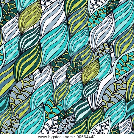 Waves Organic And Floral Pattern, seamless Wallpaper. Textile Texture For Printing.