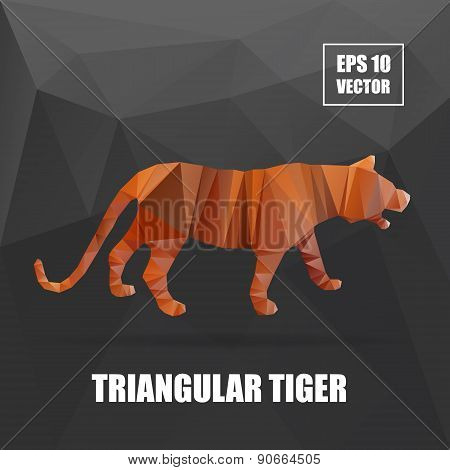 Poly design. Tiger illustration. tiger vector illustration. polygonal animal series
