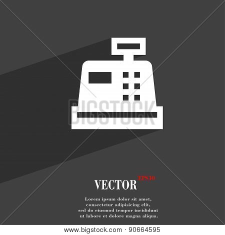 Cash Register Icon Symbol Flat Modern Web Design With Long Shadow And Space For Your Text. Vector