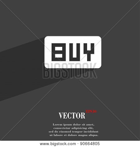 Buy, Online Buying Dollar Usd  Icon Symbol Flat Modern Web Design With Long Shadow And Space For You