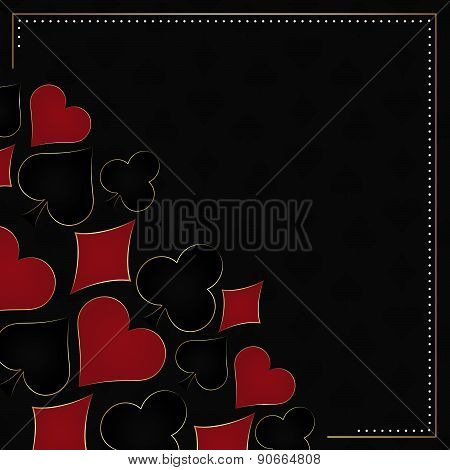 Poker background with card symbol and frame