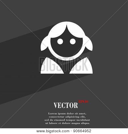 Female, Woman Human, Women Toilet, User, Login Icon Symbol Flat Modern Web Design With Long Shadow A