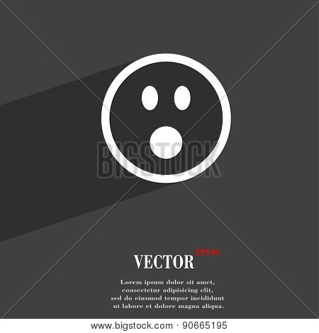 Shocked Face Smiley Icon Symbol Flat Modern Web Design With Long Shadow And Space For Your Text. Vec