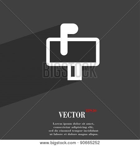Mailbox Icon Symbol Flat Modern Web Design With Long Shadow And Space For Your Text. Vector