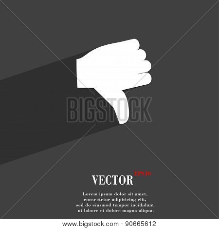 Dislike, Thumb Down Icon Symbol Flat Modern Web Design With Long Shadow And Space For Your Text. Vec