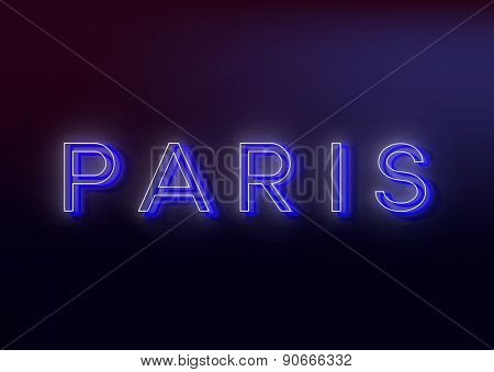 Neon Paris. Neon Paris sign, design for your business. Bright attracts the attention of a luminous s
