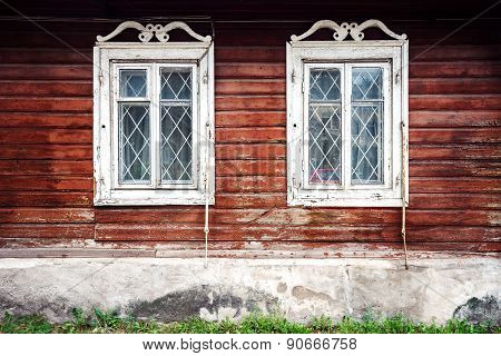 Old Windows On A Wall