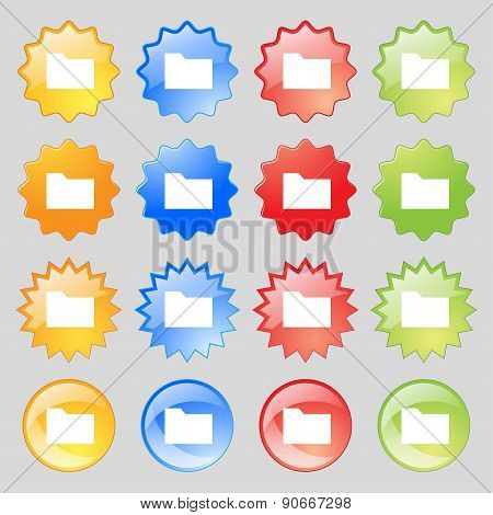 Document Folder Icon Sign. Big Set Of 16 Colorful Modern Buttons For Your Design. Vector