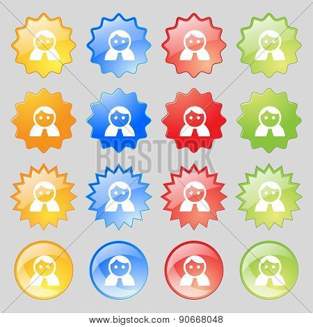 Female, Woman Human, Women Toilet, User, Login Icon Sign. Big Set Of 16 Colorful Modern Buttons For