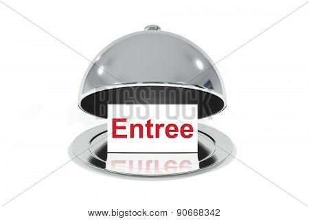 Opened Silver Cloche With White Sign Entree