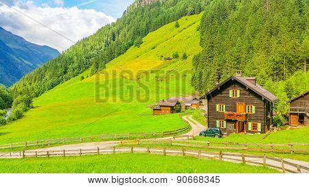 Typical alpine buildingm green meadows in Austria
