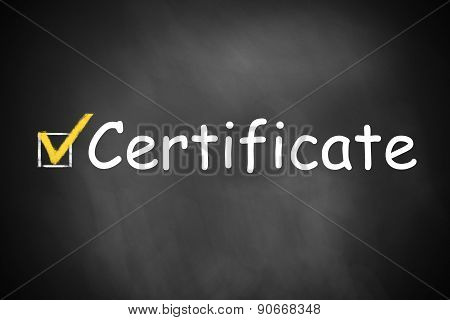 Certificate Written On A Chalkboard Checkbox