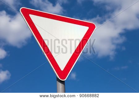 Traffic Sign Against Blue Sky Background