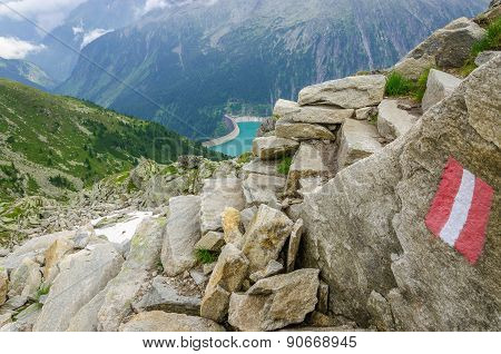 Alpine landscape and trail Zillertal Alps, Austria