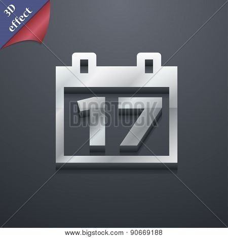 Calendar, Date Or Event Reminder Icon Symbol. 3D Style. Trendy, Modern Design With Space For Your Te