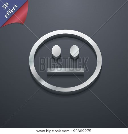 Sad Face, Sadness Depression Icon Symbol. 3D Style. Trendy, Modern Design With Space For Your Text V