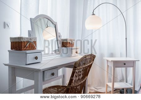 White Dressing Table In Apartment