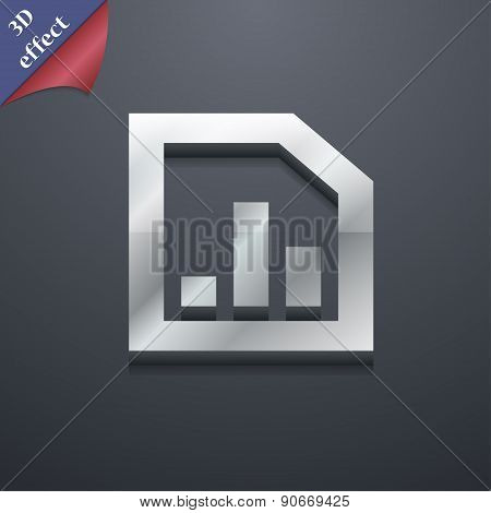 Growth And Development Concept. Graph Of Rate Icon Symbol. 3D Style. Trendy, Modern Design With Spac