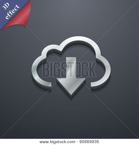 Download From Cloud Icon Symbol. 3D Style. Trendy, Modern Design With Space For Your Text Vector