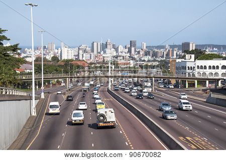Western Freeway Leading Into Central Durban As Seen From Tollgate Bridge
