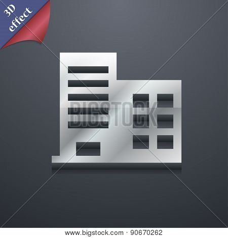 High-rise Commercial Buildings And Residential Apartments Icon Symbol. 3D Style. Trendy, Modern Desi