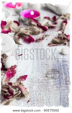 Stones Candles Petals Rose Wooden Background