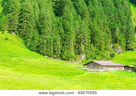 Beautiful alpine landscape with a mountain hut