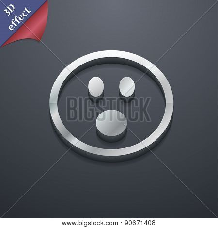 Shocked Face Smiley Icon Symbol. 3D Style. Trendy, Modern Design With Space For Your Text Vector