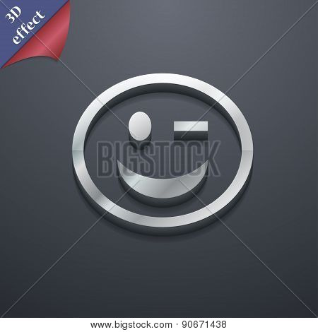 Winking Face Icon Symbol. 3D Style. Trendy, Modern Design With Space For Your Text Vector