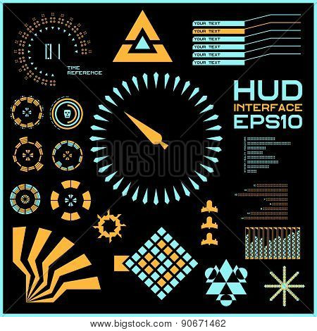 Abstract vector virtual graphic touch user interface HUD.