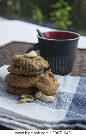 Cookie Biscuit Baked Breakfast Meal Cashew Coffee Concept