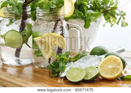 Lime Lemon Soda Mint Rosemary Fresh Drink Summer