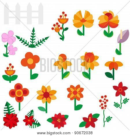 Flower set in a flat style Flower set. Spring flowers. Vector flat illustration