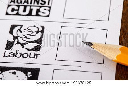 Labour Party On A Uk Ballot Paper