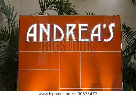 The Andrea's restaurant sign inside of the Encore hotel, Las Vegas.