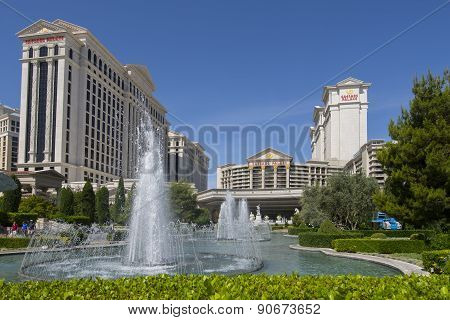 The fountains in front of Caesars Palace in Las Vegas.