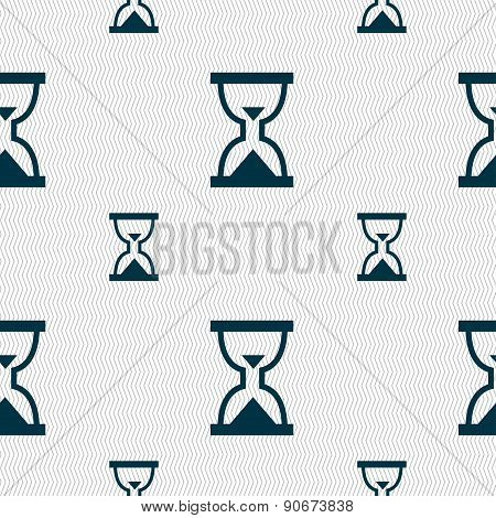Hourglass, Sand Timer Icon Sign. Seamless Pattern With Geometric Texture. Vector