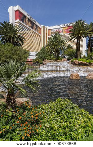 The Mirage hotel in Las Vegas with lush grounds.