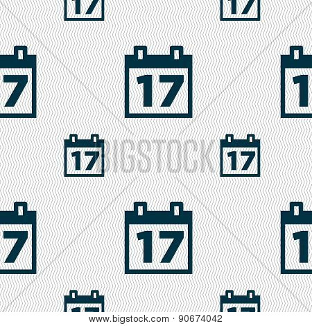 Calendar, Date Or Event Reminder Icon Sign. Seamless Pattern With Geometric Texture. Vector