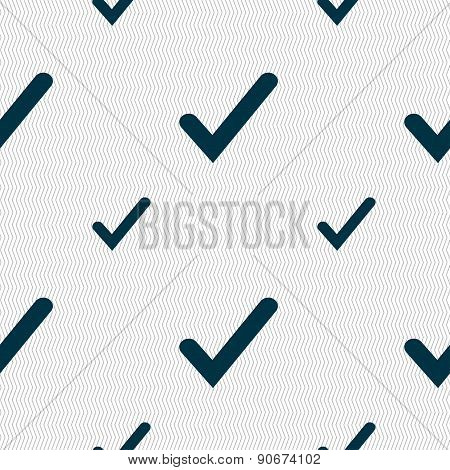 Check Mark, Tik Icon Sign. Seamless Pattern With Geometric Texture. Vector