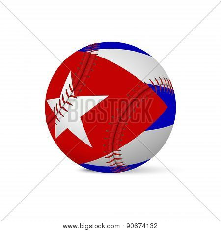 Baseball with flag of Cuba, isolated on white