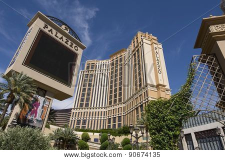 The Palazzo hotel and sign on the Las Vegas strip.
