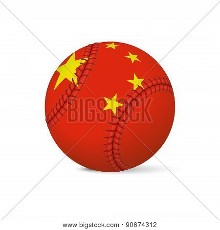Baseball with flag of China, isolated on white