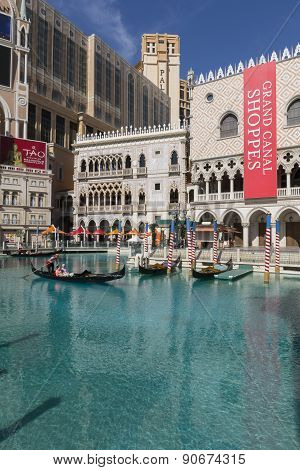 A day time view of the canal in front of the Venetian Hotel in Las Vegas.