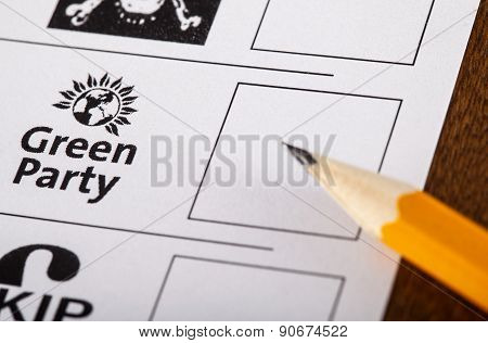 The Green Party On A Uk Ballot Paper